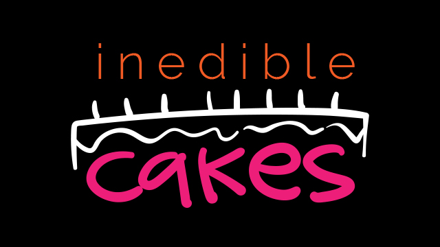 Header banner for Inedible Cakes. Shows date + facilitator (Feb 23rd 2020 + Kay Slater)